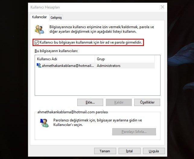 Windows 10 açılış parolasını kaldırma_002