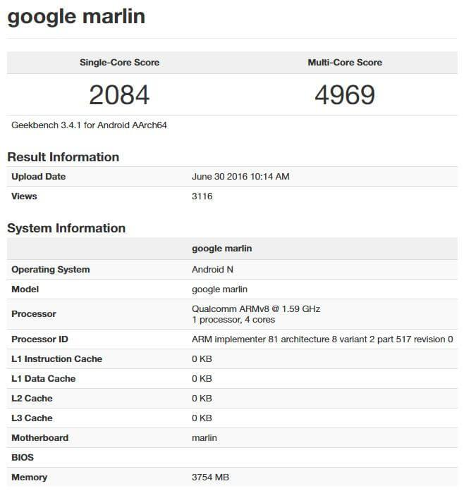 HTC Nexus 2016 Geekbench