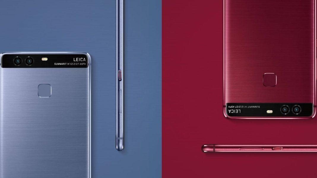 Huawei P9'a Koyu Kırmızı ve Mavi