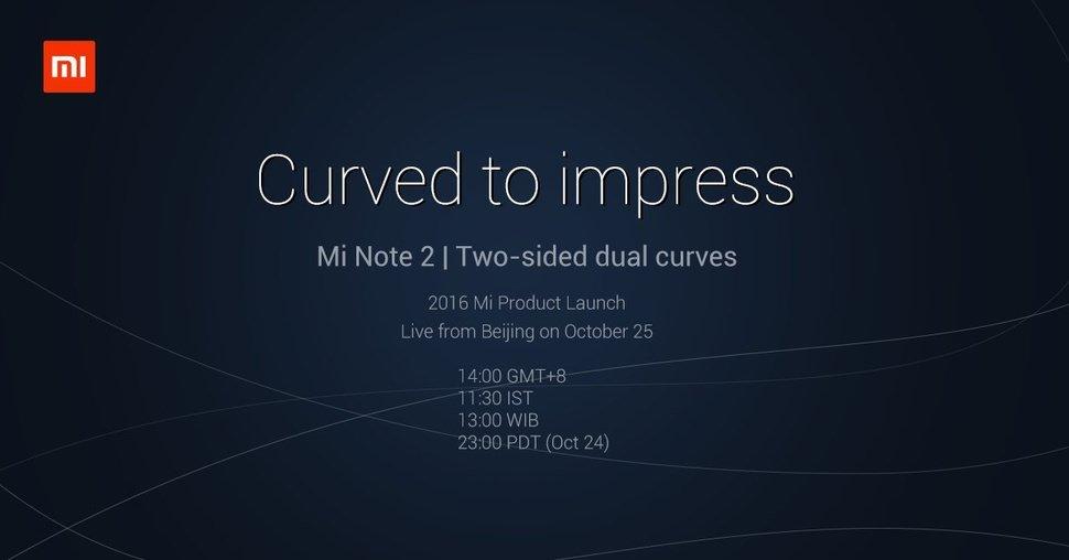 Xiaomi Mi Note 2 Cihazını 25 Ekimde Tanıtacak