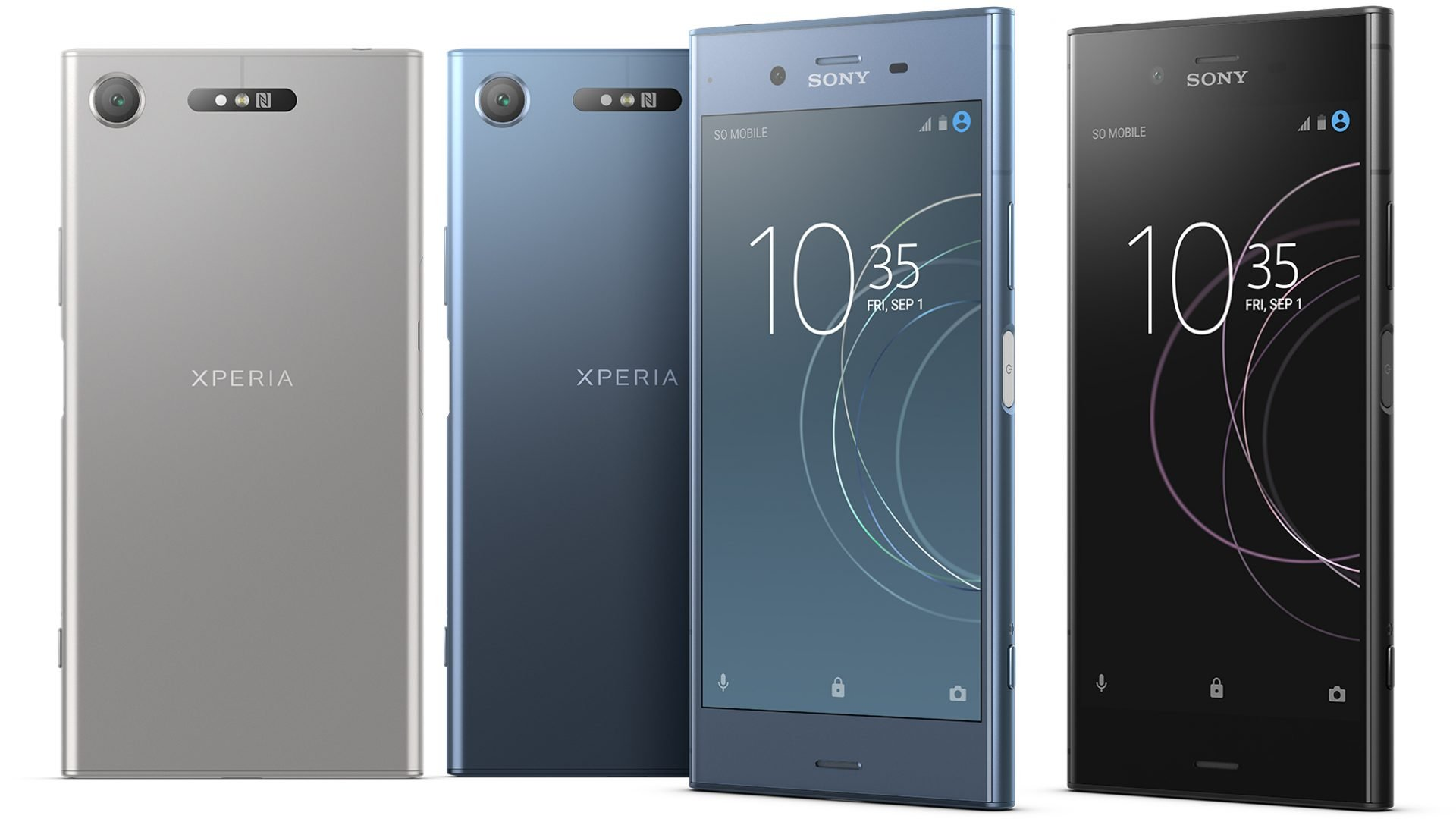 Sony Xperia XZ1 mavi siyah beyaz