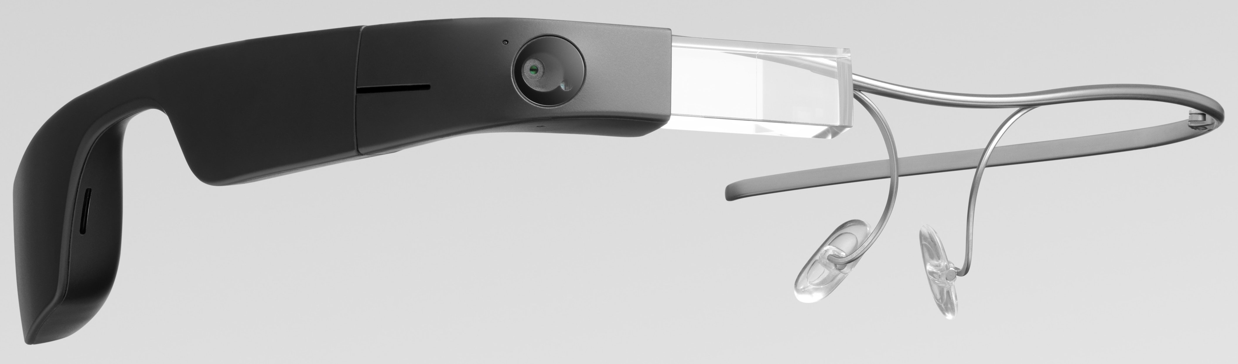 Google Glass Enterprise Edition 2 camsız sol çapraz görseli, çerçevesiz Google Glass 2