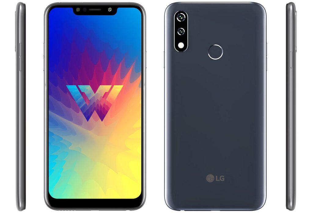 Gri renkleri LG W10'un ön, arka ve yandan görseli
