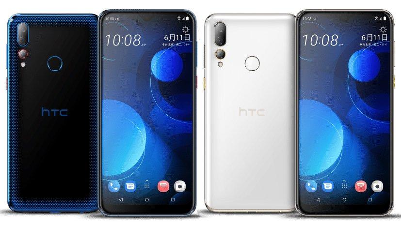 HTC Desire 19+ mavi ve siyah renklerinin birleşik ön ve arka yüzleri
