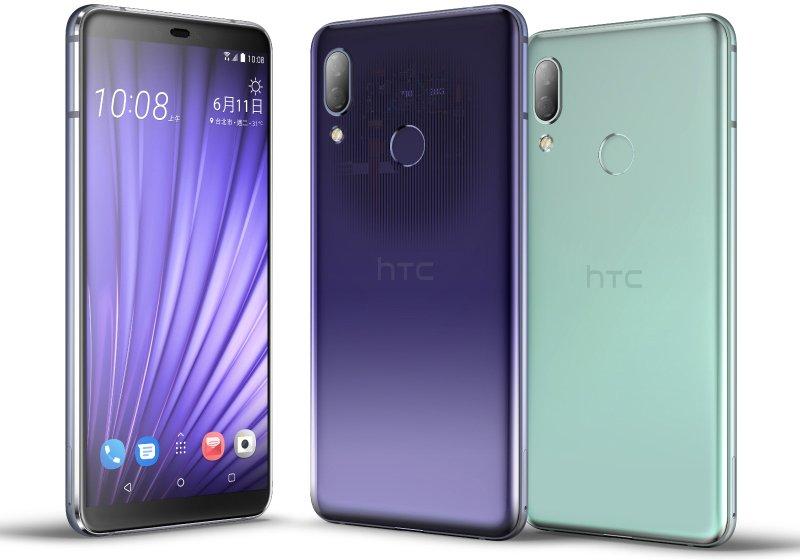 HTC U19e mor ve yeşil renklerinin yandan görseli