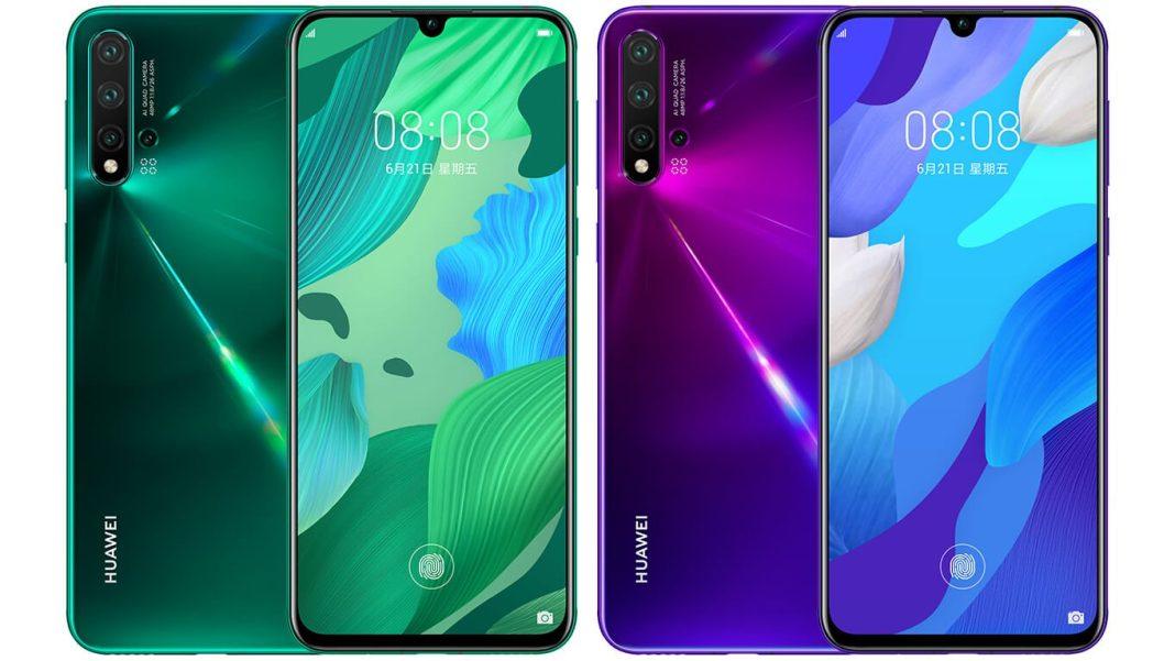 Huawei nova 5 yeşil ve mor renklerinin birleşik ön ve arya yüzleri
