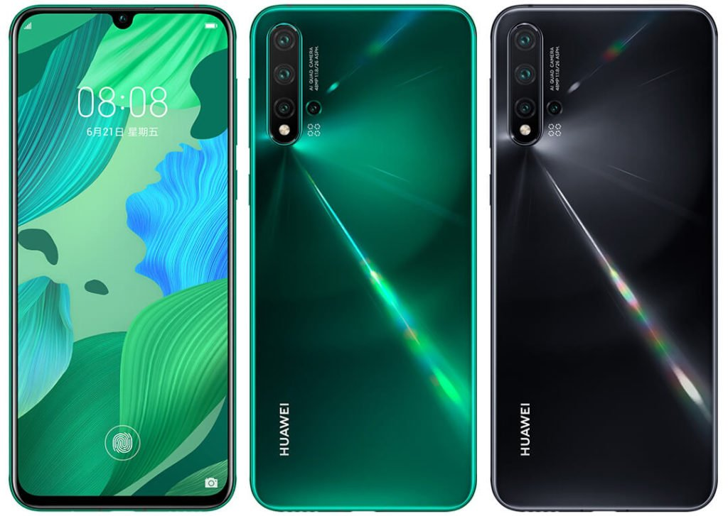 Huawei nova 5 yeşil ve siyah renklerinin tam ön ve arka yüzleri