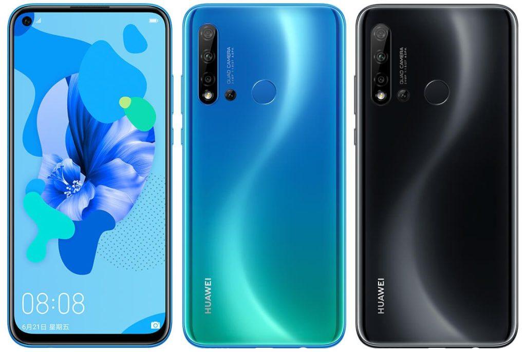 Huawei nova 5i mavi ve siyah renklerinin tam ön ve arka yüzleri, 3 lü kamera ve delikli ekranlı ön kamera