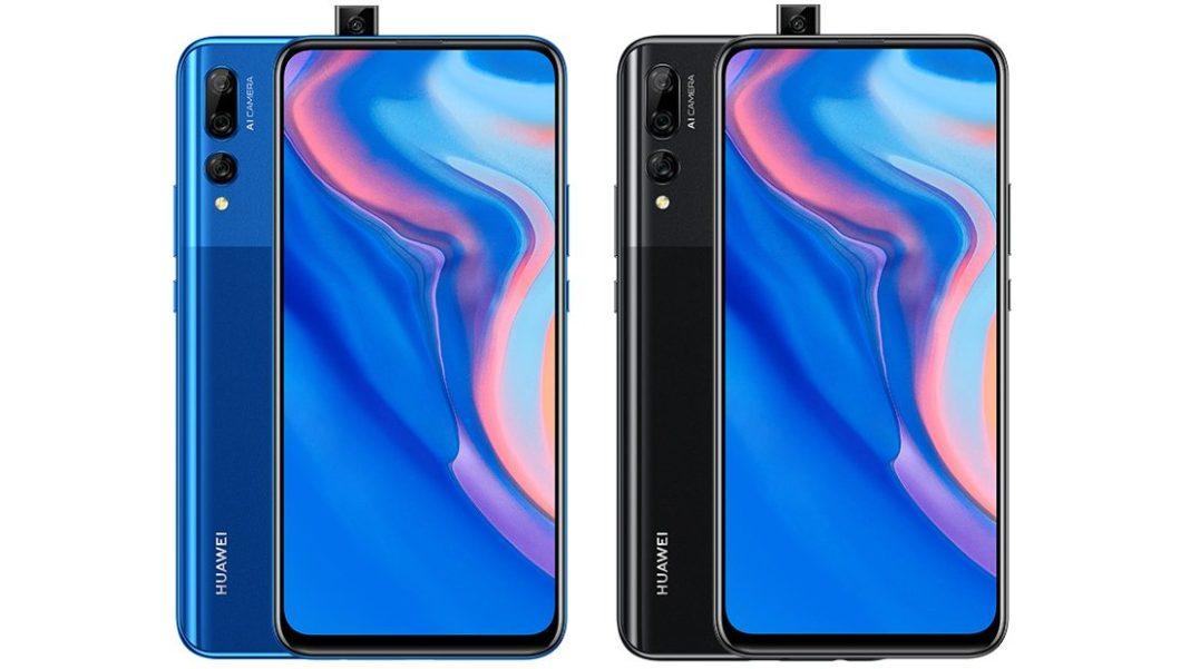 Huawei Y9 Prime 2019 mavi ve siyah renklerinin birleşik ön ve arka yüzleri, pop up ön kamerası