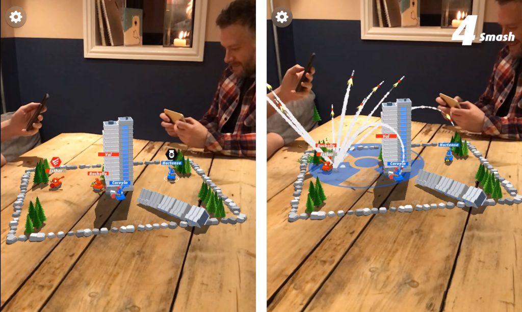 Slingshot Island ARCore ar oyununun oynanış görseli, tank ar oyunlar