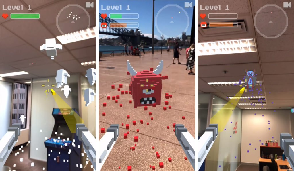 Ghosts'n Guns ar oyununun oynanış görseli, ekran görüntüleri