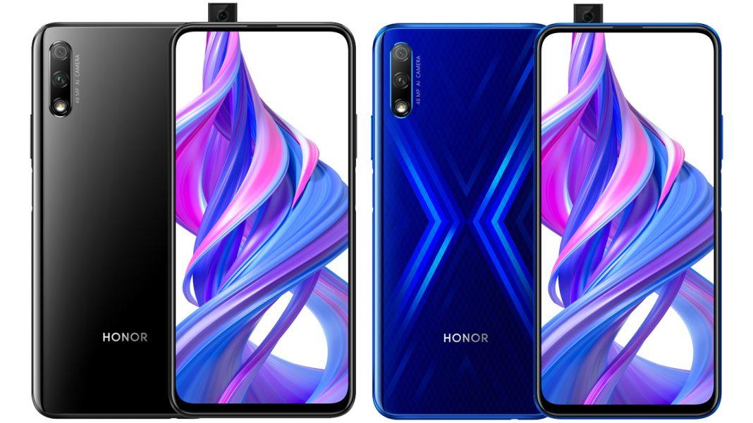 Honor 9X siyah ve mavi renklerinin birleşin ön ve arka görseli
