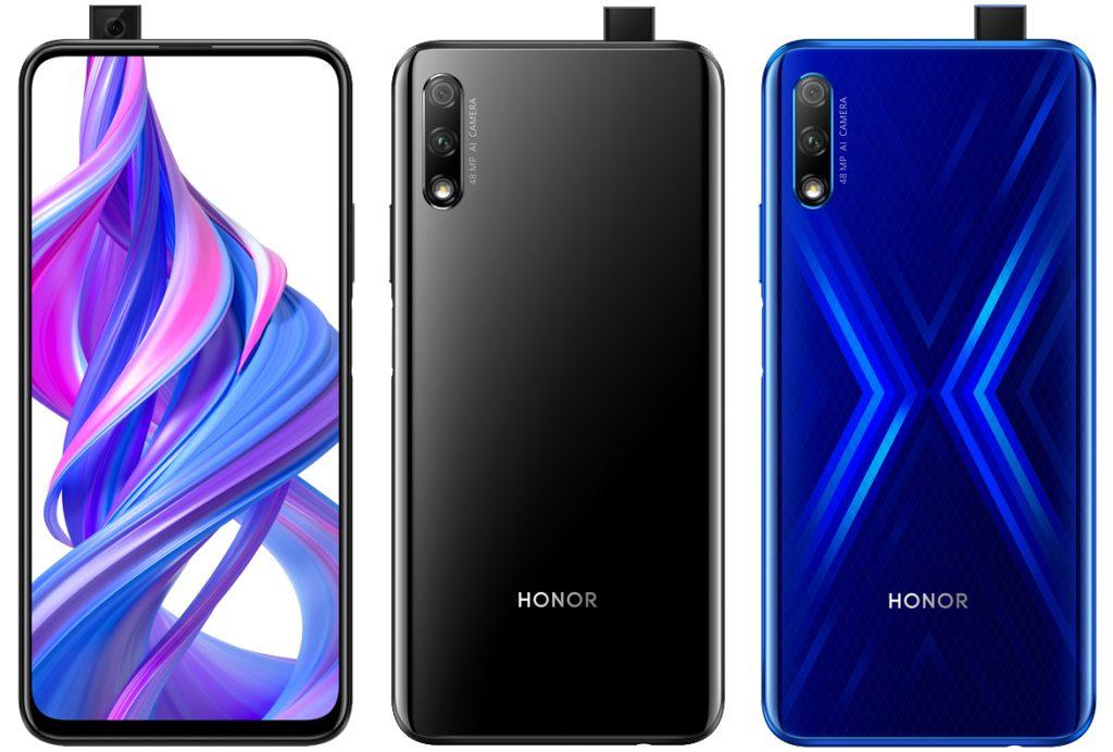 Honor 9X siyah ve mavi renklerinin ön ve arka yüzü, pop up kamerası