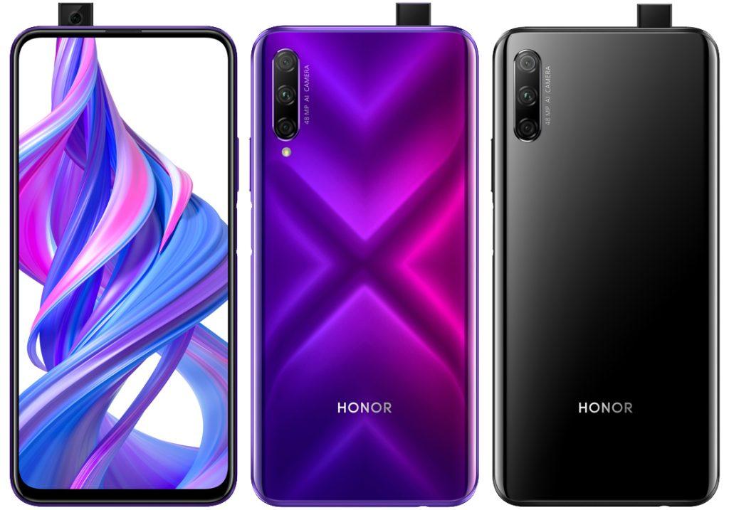 Honor 9X Pro mor ve siyah renklerinin ön ve arka görseli, ve pop up ön kamerası