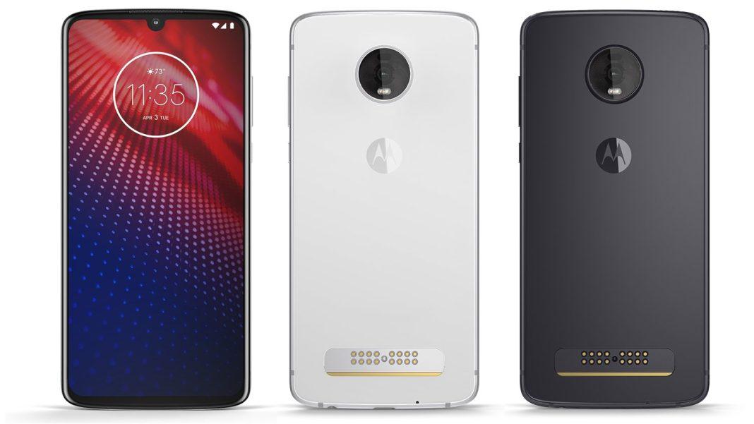 Motorola Moto Z4 siyah ve beyaz renklerinin ön ve arka görseli