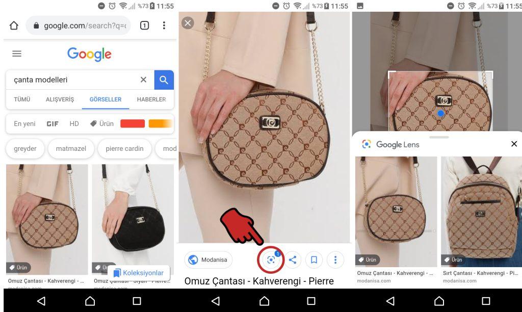 Görsel Aramalara Google Lens Nasıl kullanılır, Google Görsellerde Google lens ile çanta arama