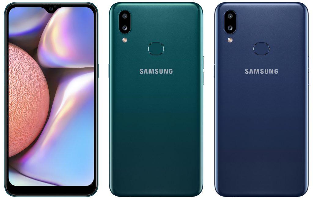 Samsung Galaxy A10s yeşil ve mavi ön ve arka yüzü