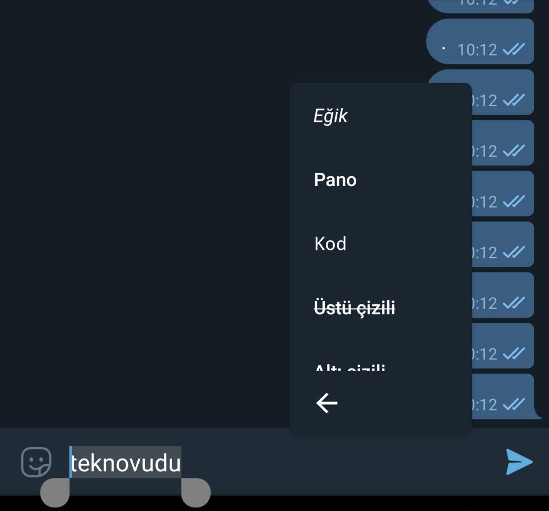 Android Telegramdan Kalin, Eğik, altı çizili yazma